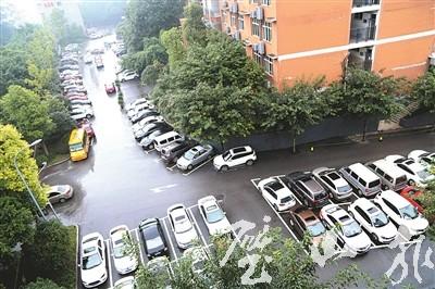 城中社区旁的生态停车场不仅方便停车,还成为老城区一道靓丽风景线