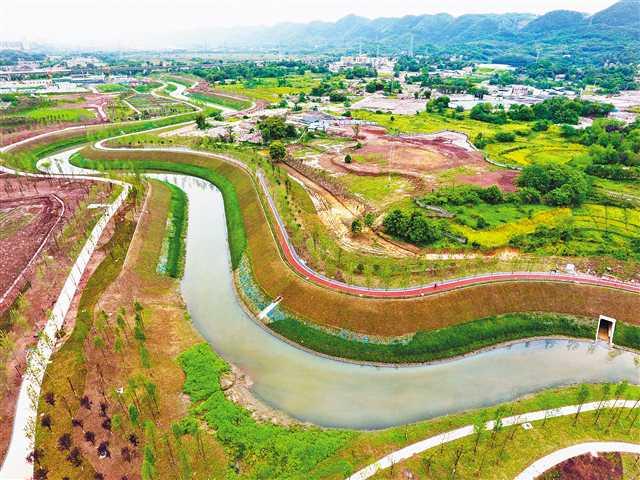 梁滩河综合整治示范段即将完工